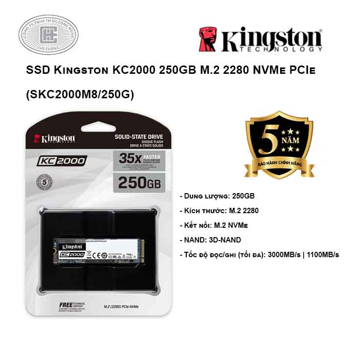 Ổ cứng SSD Kingston KC2000 250GB M.2 2280 NVMe PCIe (SKC2000M8/250G)