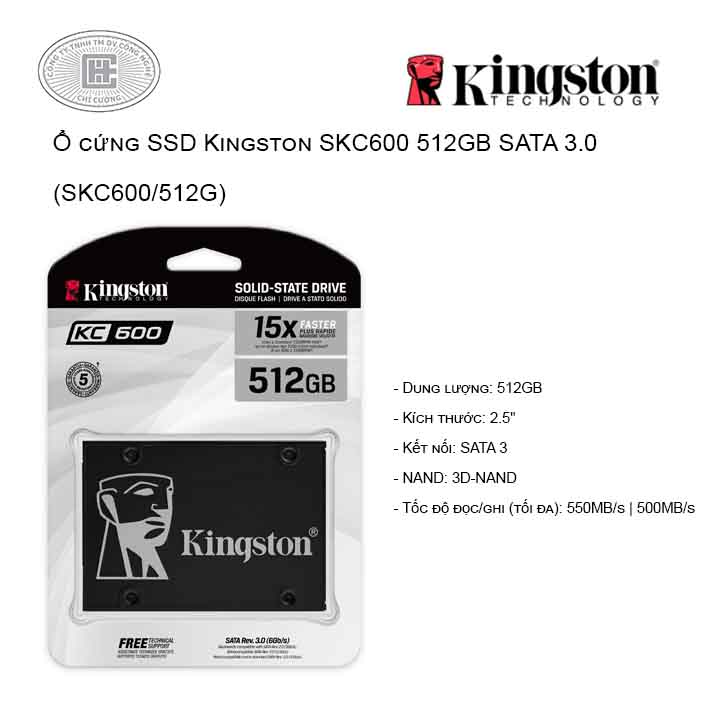 Ổ cứng SSD Kingston SKC600 512GB SATA 3.0 (SKC600/512G)