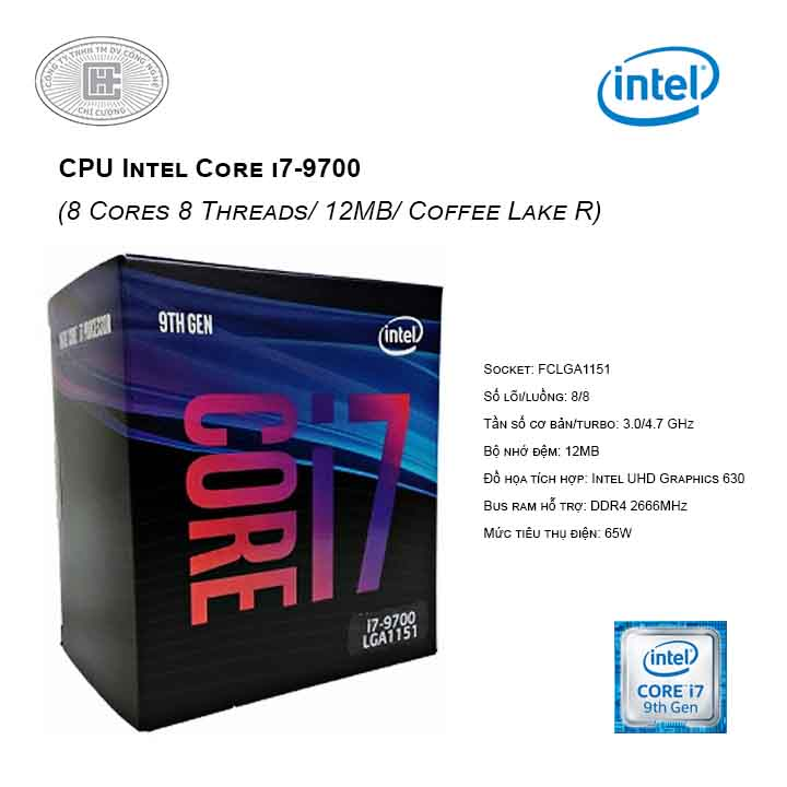 CPU Intel Core i7-9700 3.00 GHz up to 4.70 GHz (8 Cores 8 Threads/ 12MB/ Coffee Lake R) 1151-v2