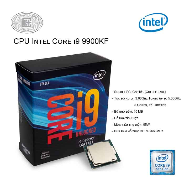CPU Intel Core i9-9900KF 3.60Ghz Turbo up to 5.00GHz / 16MB / 8 Cores, 16 Threads / Socket 1151 / Coffee Lake