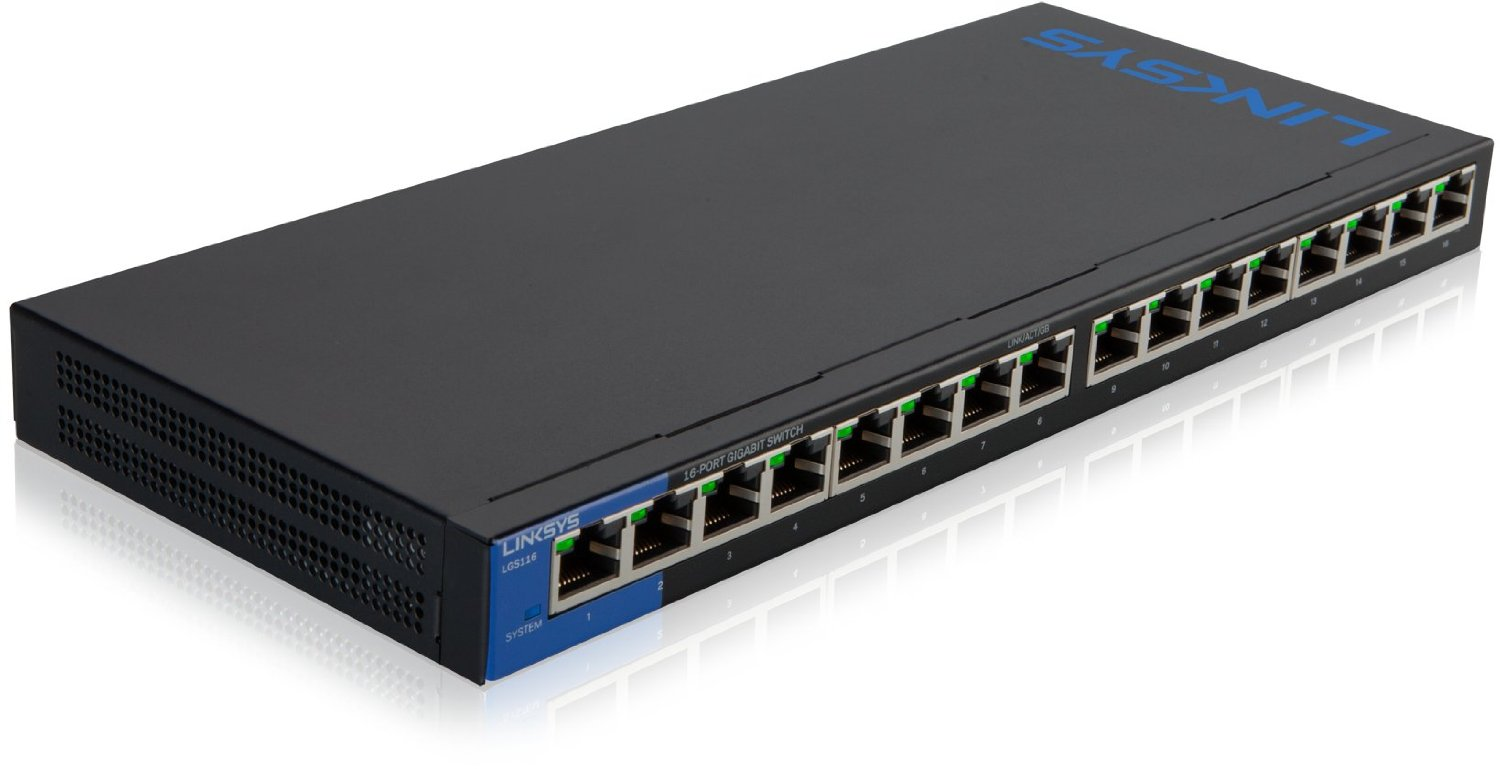 Linksys 16 Ports Gigabit Switch LGS116 - UNMANAGED SWITCH