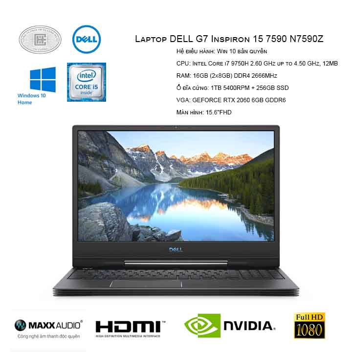 Laptop DELL G7 Inspiron 15 7590 N7590Z (i7 9750H/16GB (2x8GB)/1TB + 256GB SSD/GEFORCE RTX 2060 6GB/15.6