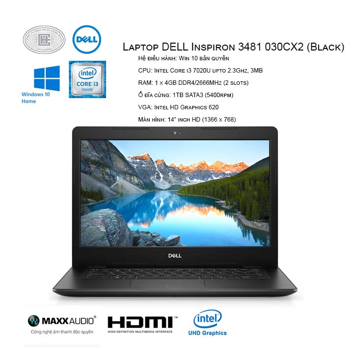 "Laptop DELL Inspiron 3481 030CX2 (Black) (14"" HD/i3-7020U/4GB/1TB HDD/HD 620/Win10/1.7 kg)"