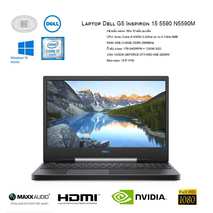 Laptop Dell G5 Inspiron 15 5590 N5590M( i5 9300H/8GB (1x8GB)/1TB + 128GB SSD/GEFORCE GTX1650 4GB/15.6