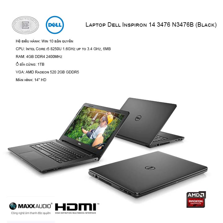 Laptop Dell Inspiron 14 3476 N3476B (Black)