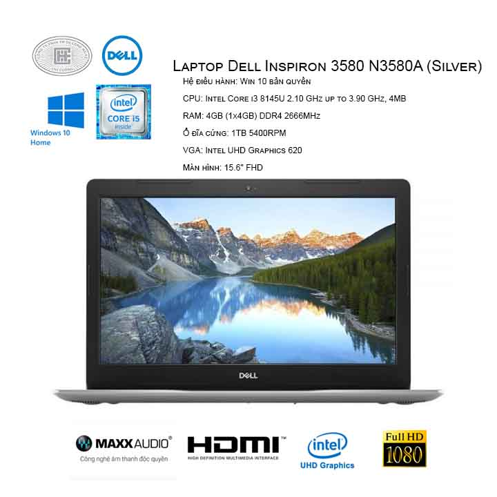 Laptop Dell Inspiron 3580 N3580A (Silver)