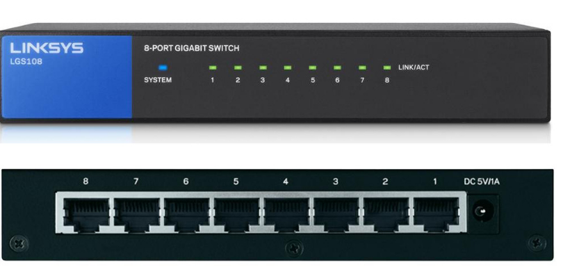 LINKSYS Linksys 8 Ports Gigabit Switch LGS108 - UNMANAGED SWITCH
