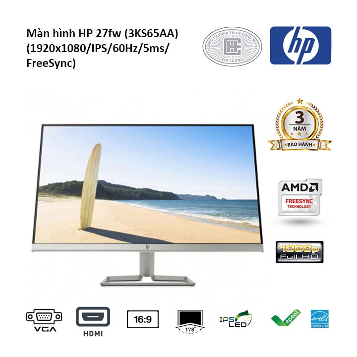 Màn hình HP 27fw 3KS65AA (1920x1080/IPS/60Hz/5ms/FreeSync)