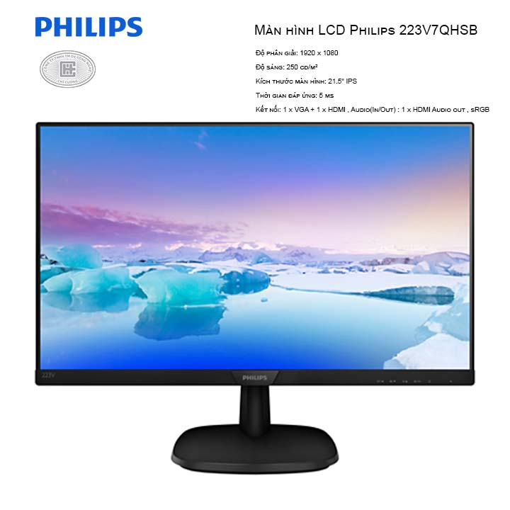 Màn Hình Philips 223V7QHSB 21.5 inches (1920x1080/IPS/60Hz/5ms)
