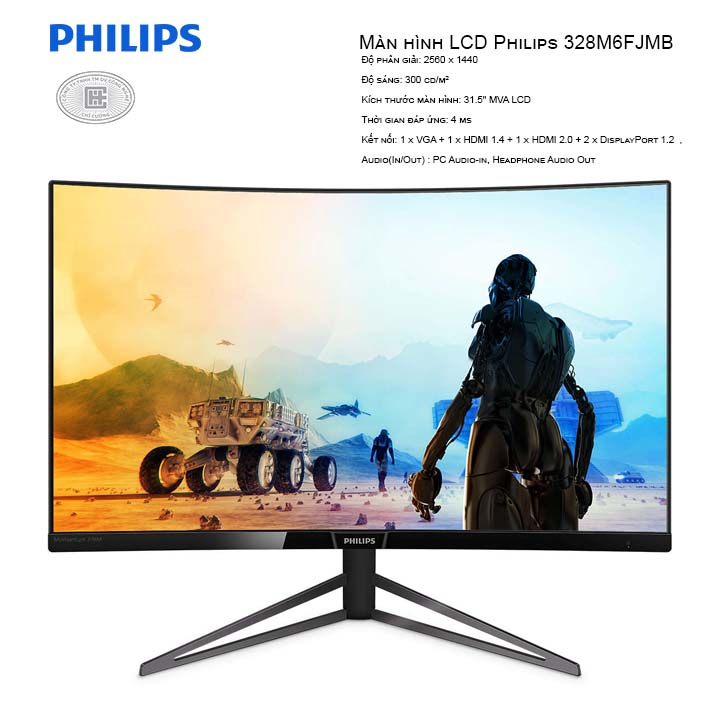 Màn hình LCD Philips 328M6FJMB 32 inches (2560 x 1440/MVA LCD/60Hz/4ms)
