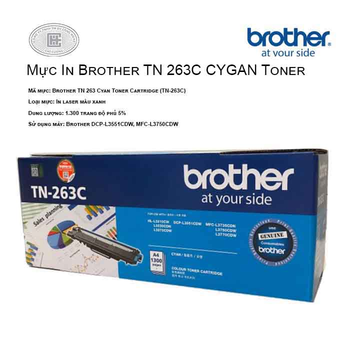 Mực in Brother TN 263 Cyan Toner Cartridge TN-263C ( cho máy HL-L3230CDN, MFC-L3770CDW, MFC-L3750CDW, DCP-L3551CDW, HL-L3270CDW )