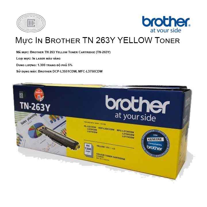 Mực in Brother TN 263 Yellow Toner Cartridge (TN-263Y) ( cho máy HL-L3230CDN, MFC-L3770CDW, MFC-L3750CDW, DCP-L3551CDW, HL-L3270CDW )