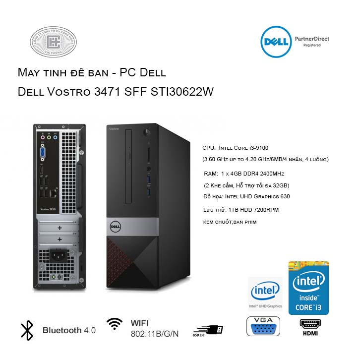 Máy tính để bàn - PC Dell Vostro 3471 SFF STI30622W-4G-1T (Intel Core i3-9100/4GB/1TB HDD/Windows 10 Home 64-bit)