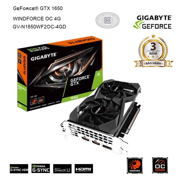 Card màn hình GIGABYTE GeForce GTX 1650 4GB GDDR5 WindForce OC (GV-N1650WF2OC-4GD)